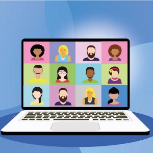 salariés réunis en visioconférence
